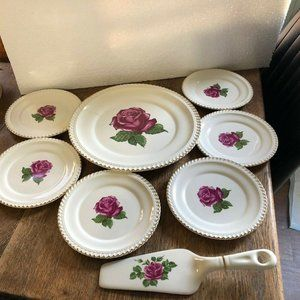 Vintage CAKE SET QUEENS ROSE HARKER POTTERY
